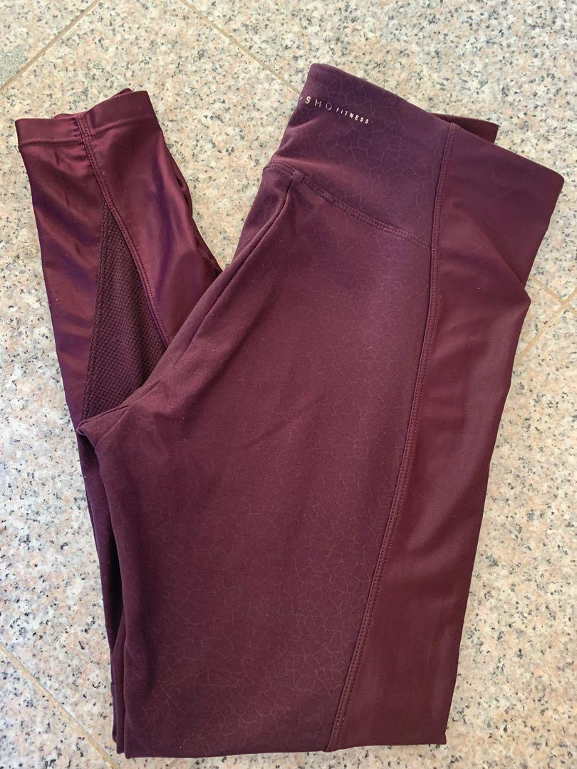 OYSHO - Burgundy/ Grape Full Length Active Tights - RRP $99