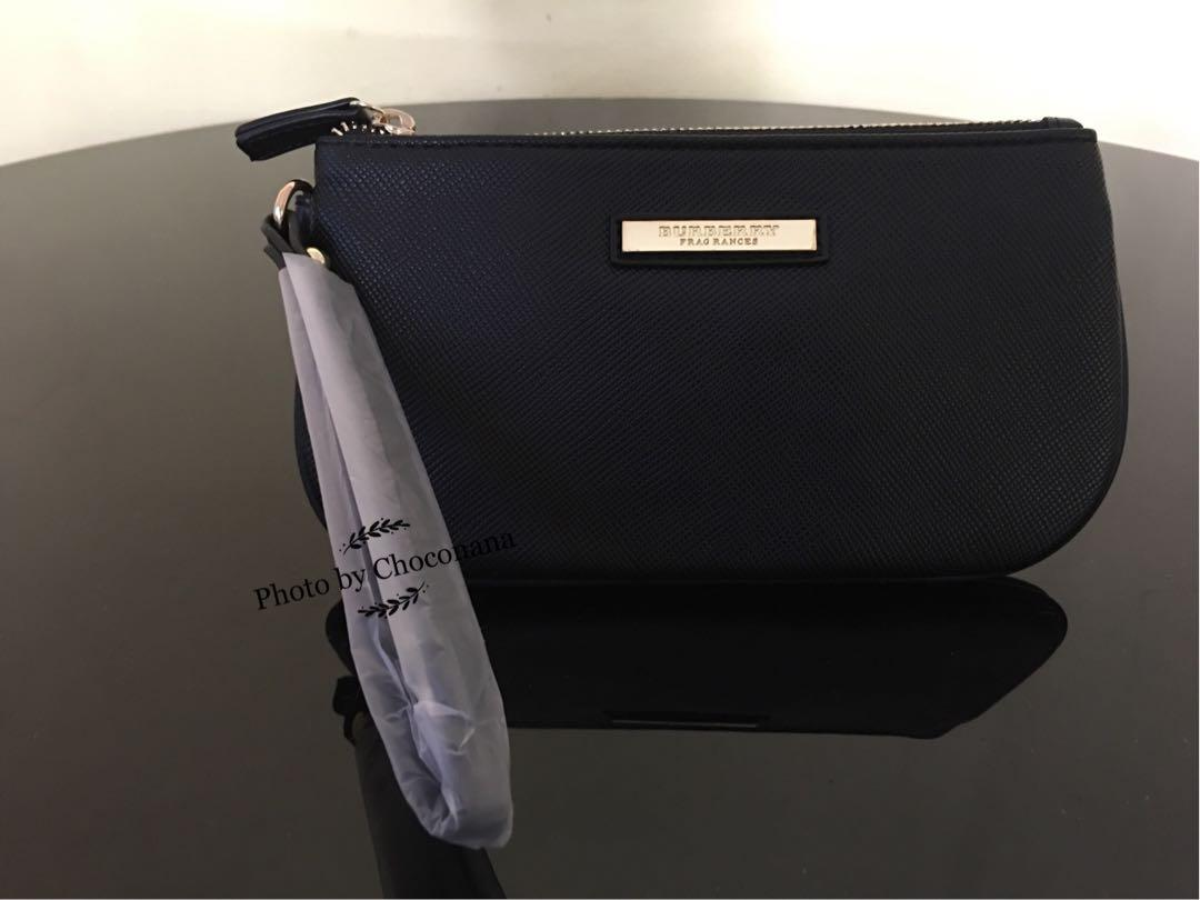 Ready stock: Ready stock: Complimentary Burberry Fragrances Saffiano PU leather clutch