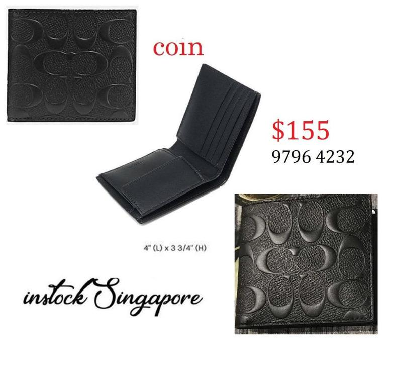 READY STOCK - AUTHENTIC - NEW  coach Coin wallet signature crossgrain Style # 75363 / F75363 men's wallet