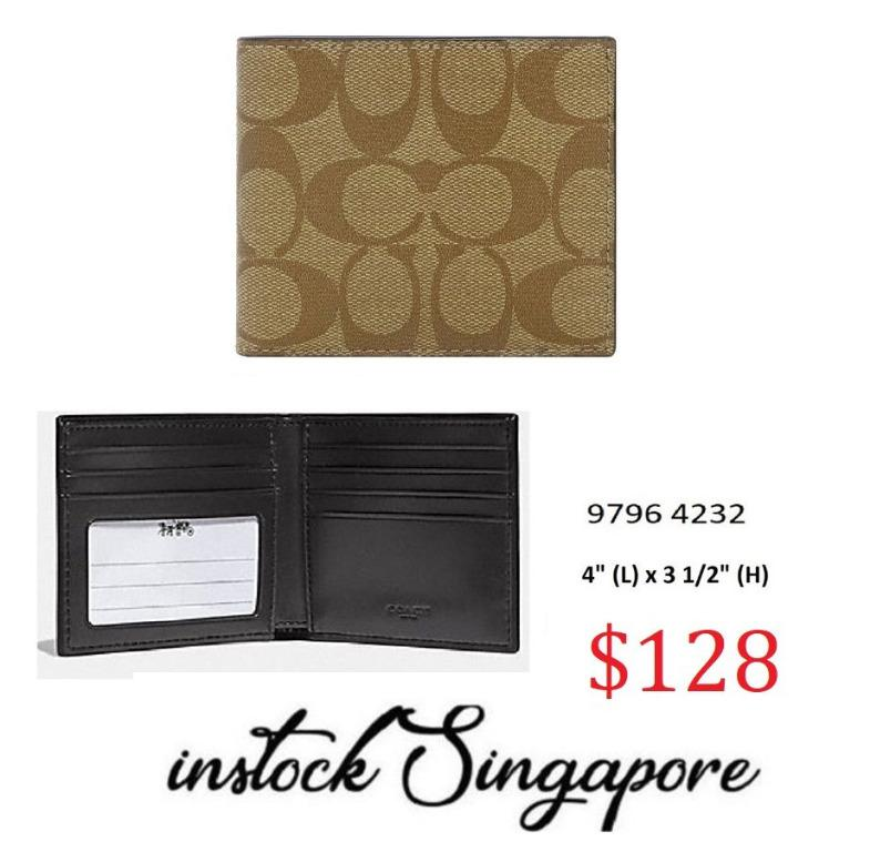 READY STOCK - AUTHENTIC - NEW Coach ID BILLFOLD WALLET IN SIGNATURE CANVAS (COACH F66551) ID plastic windows