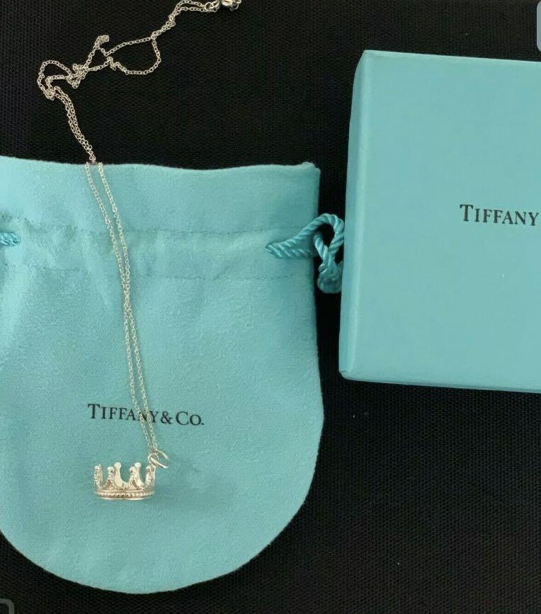 Tiffany and Co Silver Crown charm and necklace 100% authentic