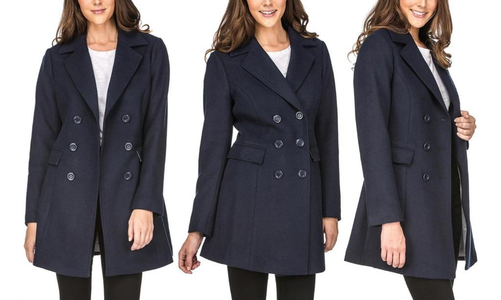 Women's Double-Breasted Wool-Blend Peacoat (Size 1X)