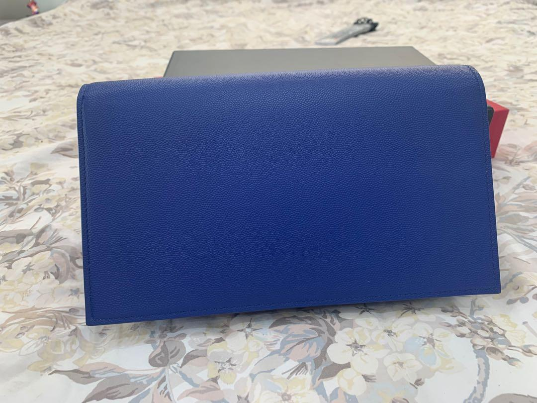 YSL Clutch In Grainy Leather (Blue With Gold Hardware)