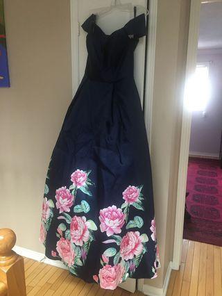 NEVER BEEN WORN navy blue prom dress