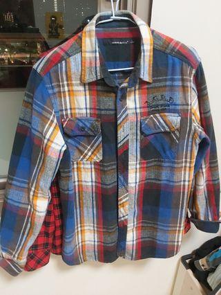 彩色格子保暖襯衫外套 法蘭絨L