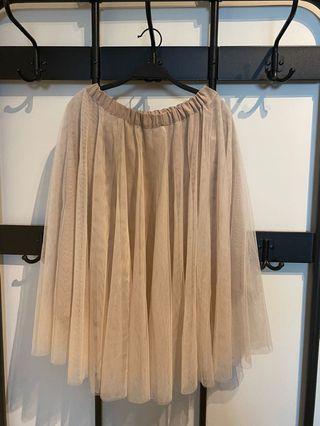 雪紡紗裙(米白色)