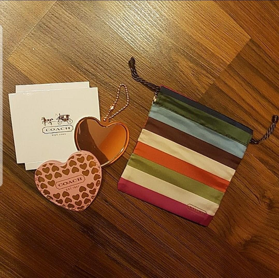 Authentic Coach Heart Shape Mirrow & Coach Drawstring Pouch & Original Coach Box (Set of 2 brand new with wrappers!)