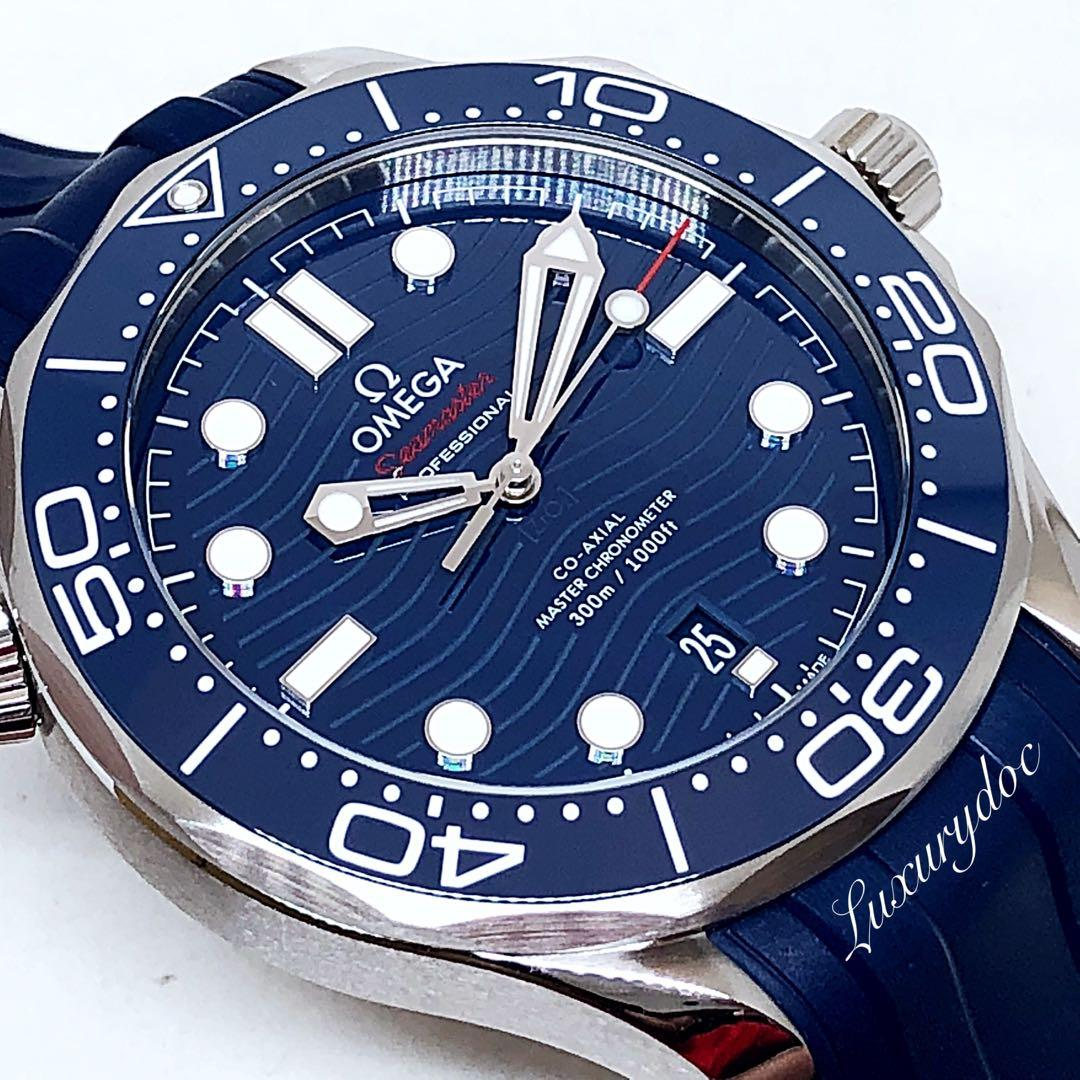 FS.BNIB OMEGA SEAMASTER DIVER 300M CO-AXIAL MASTER CHRONOMETER AUTOMATIC BLUE DIAL ON RUBBER STRAP 42MM WATCH 210.32.42.20.03.001