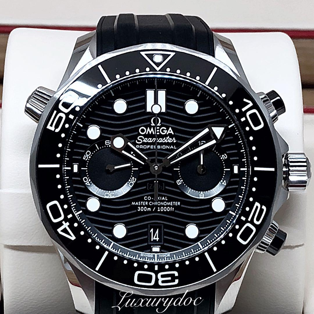FS.BNIB OMEGA SEAMASTER DIVER 300M CO-AXIAL MASTER CHRONOMETER AUTOMATIC CHRONOGRAPH BLACK DIAL ON RUBBER 44MM WATCH 210.32.44.51.01.001