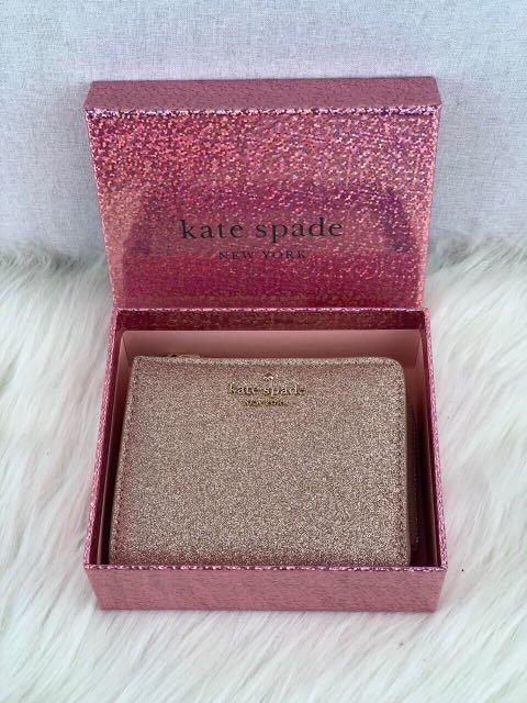 Kate Spade Joeley Glitter Small L-Zip Bifold Wallet with Gift Box in Rose Gold