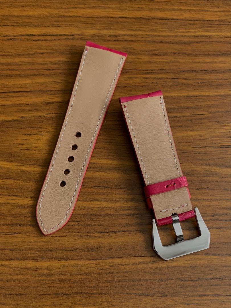 26mm/22mm Authentic Fuchsia Pink Brown Alligator Crocodile 🐊 Watch Strap (only piece - once sold no more👍🏻) (true to colour) Standard Length- L:120mm S:75mm