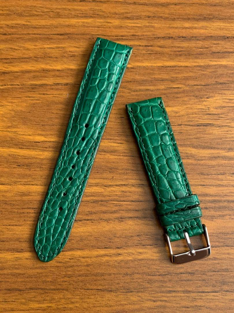 20mm/18mm Authentic Persian Jade Green Alligator 🐊 Crocodile (unique gorgeous grains) Watch Strap  (only 1 piece, once sold no more 😊) Standard length: L-120mm, S-75mm)