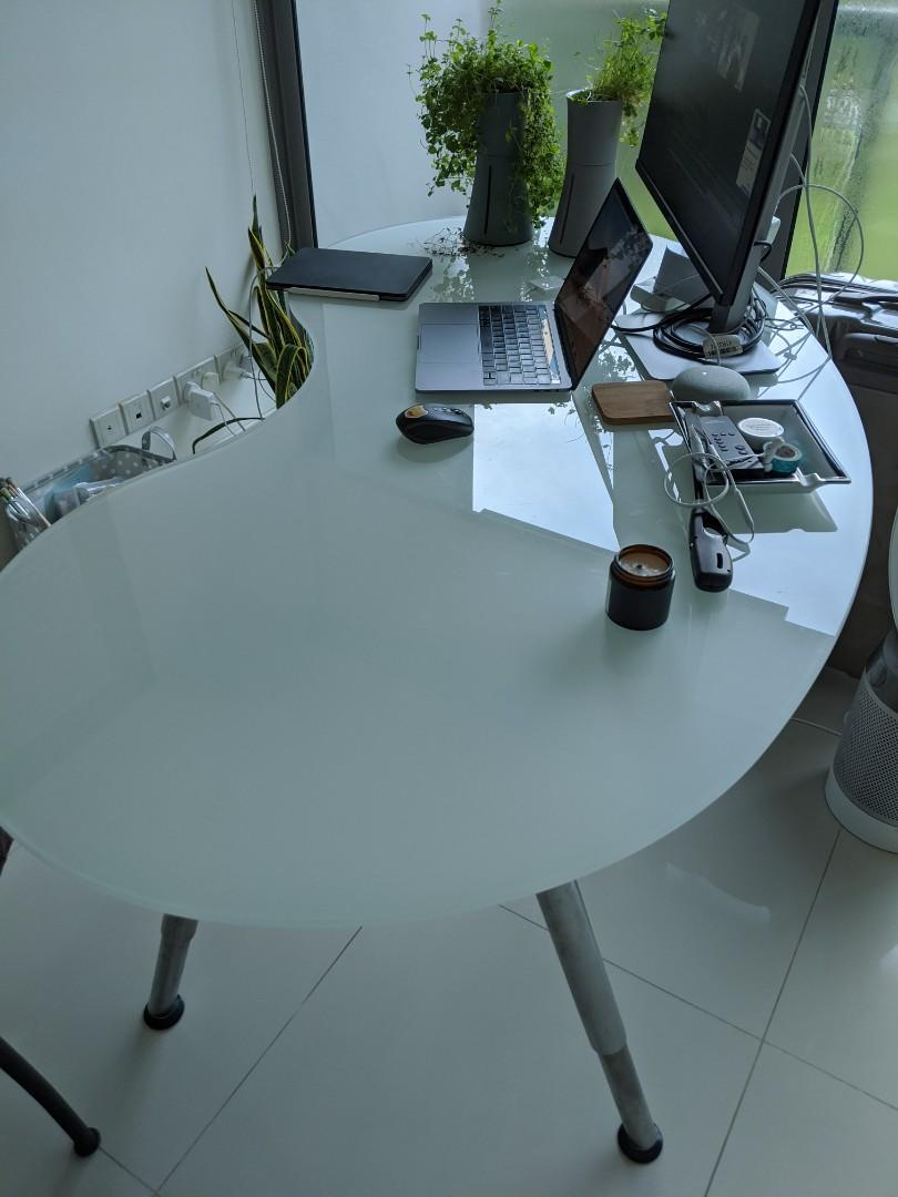 Office Desk Ikea Galant Oval Glass Furniture Tables Chairs On Carousell