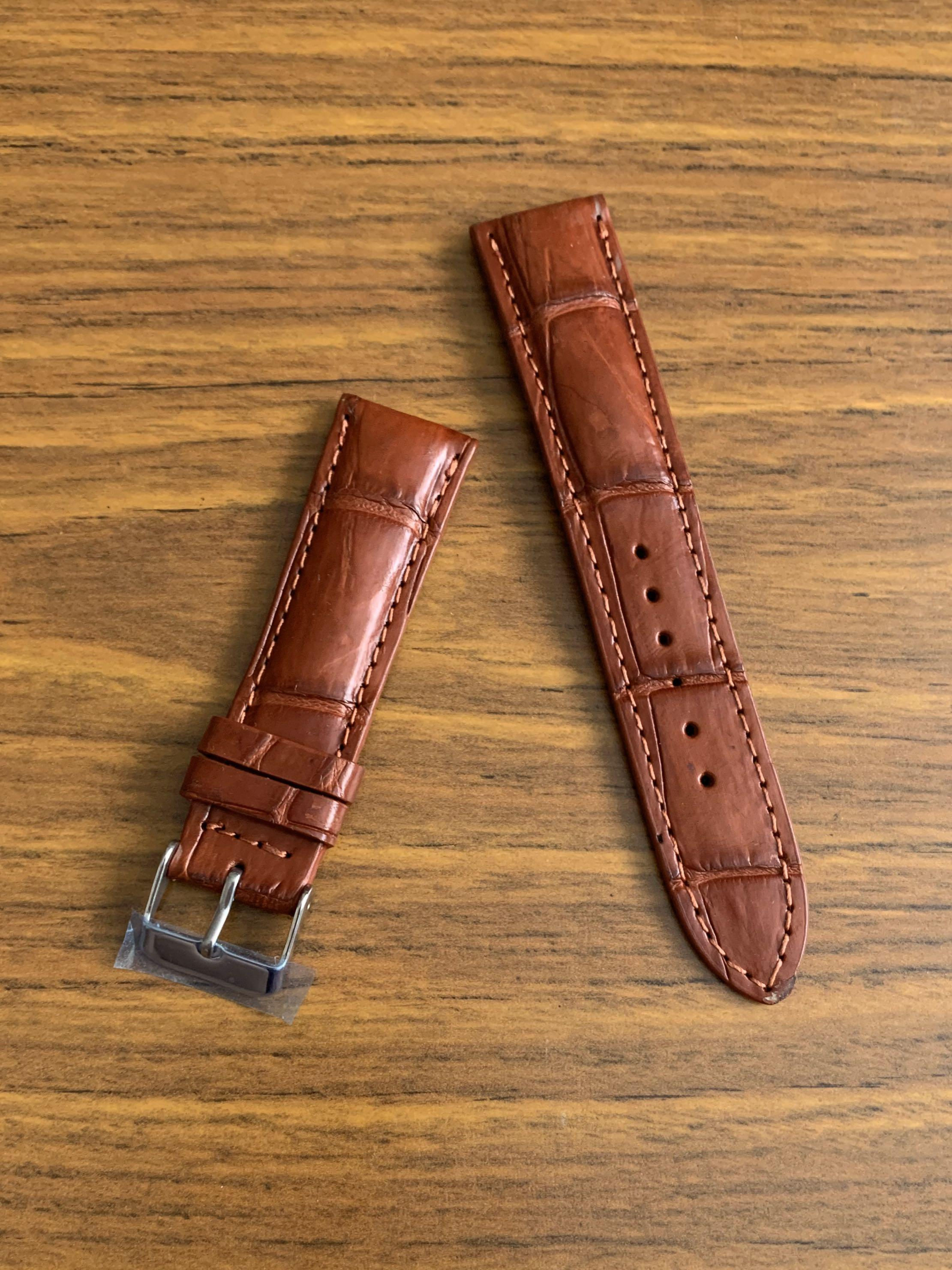 20mm/18mm Authentic Mahogany Brown Crocodile Alligator Watch Strap with Slight Antiqued Joint Scales (only piece like that, once sold no more 😊) (smooth croc grains) Standard Length- L:120mm S:75mm (versatile with stainless steel, yellow or rose gold)