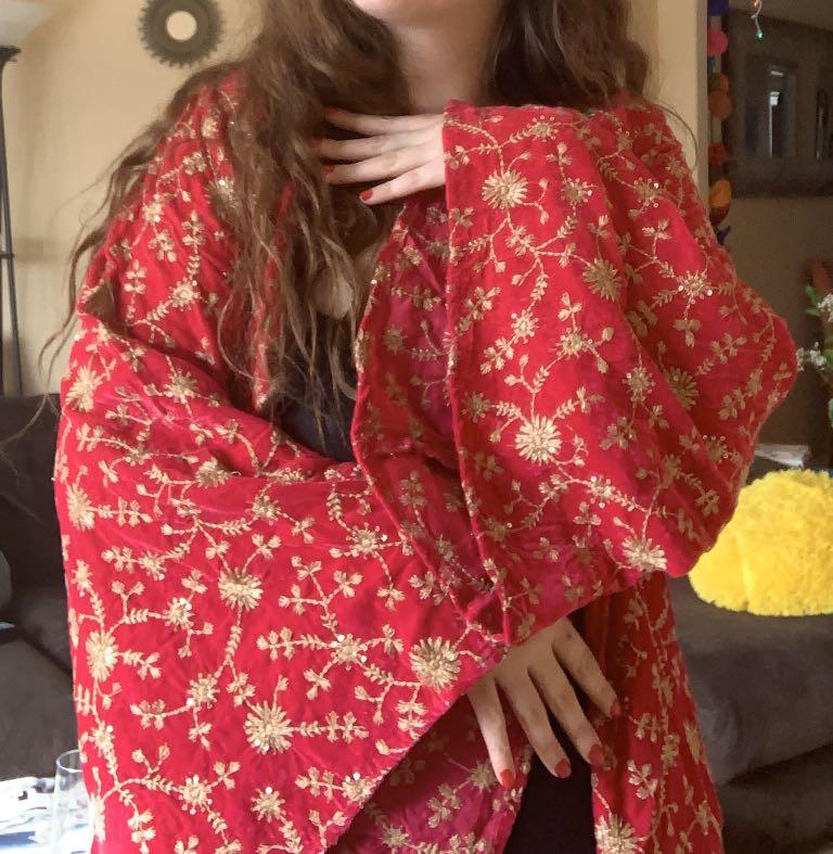Red Velvet Robe with Gold Embroidery & Flared Sleeves