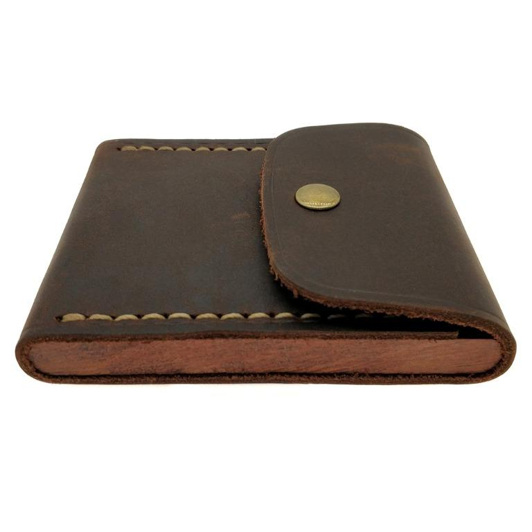 The Ninja Co. Full Grain Vintage Leather Card Case Wallet Money Bill Coin Holder Purse Men Women Business Gifts NJ 8819