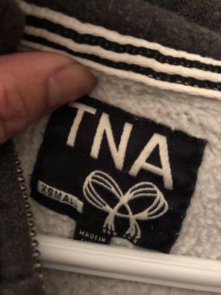 TNA gray zip-up hoodie xs