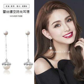 | 時尚輕奢選品 |蕾絲鏤空鋯石珍珠耳飾耳環