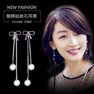 輕時尚質感選品|蝴蝶結鋯石珍珠長款耳環