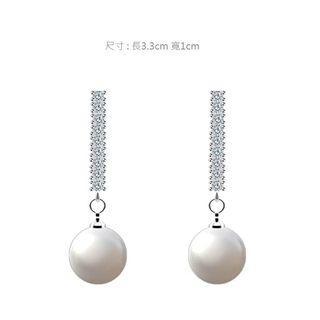 |輕時尚質感選品|簡約一字鋯石珍珠耳環
