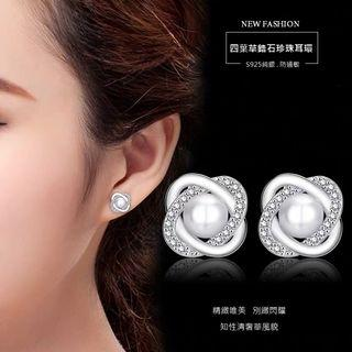 |時尚優雅選品|閃耀別緻 旋轉鋯石珍珠耳釘耳環