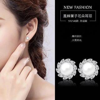 |時尚優雅選品|微鑲鋯石淡水珍珠花朵耳釘