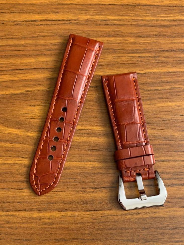 26mm/22mm Authentic Mahogany Brown Crocodile 🐊 Alligator Watch Strap (only one piece - once sold no more😊) (true to colour) Standard Length- L:120mm S:75mm (one sold, this is last piece🙏🏻)