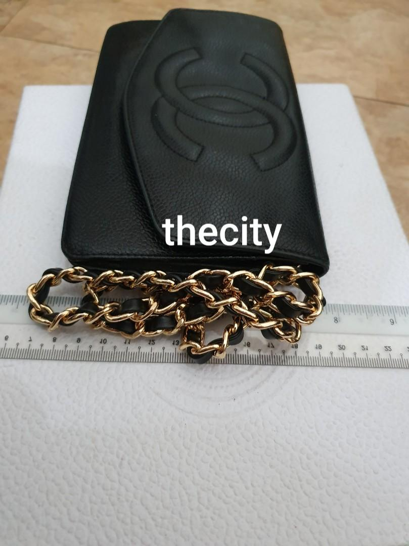 AUTHENTIC CHANEL XL ORGANIZER POUCH / WALLET - BLACK CAVIAR LEATHER- BIG CC LOGO DESIGN- GOLD HARDWARE- OVERALL GOOD - HOLOGRAM STICKER INTACT & COMES WITH AUTHENTICITY CARD -  (SERIAL: 3039349)
