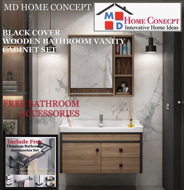 Black Cover Wooden Bathroom Vanity