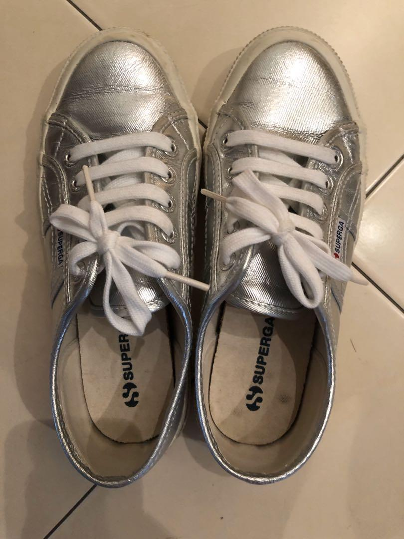 Superga Silver Sneaker Size 37, Women's