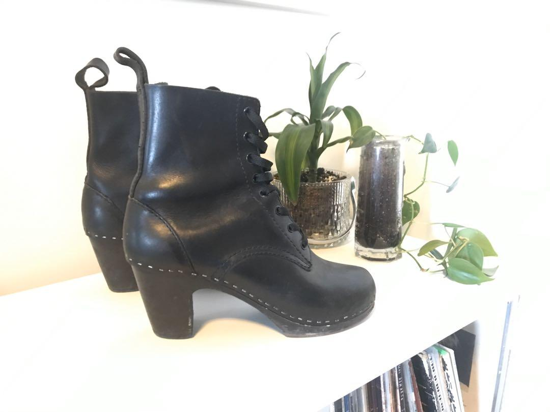 Swedish Hashbeens toffel clog granny boots size 39