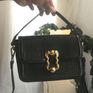 ZARA black croc bag