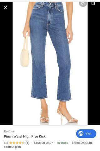 Agolde pinched waist jeans, Sz 24