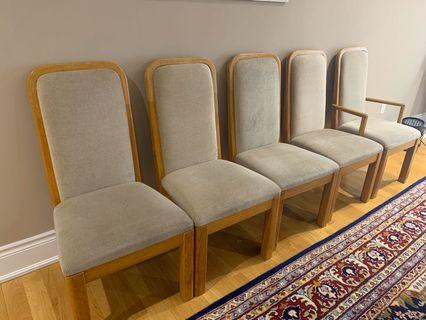5 solid wood chairs