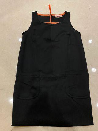 Marni black orange scuba mini dress