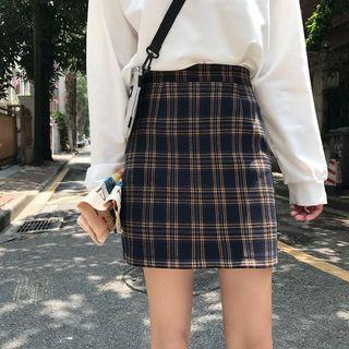 韓妞格紋窄裙全新