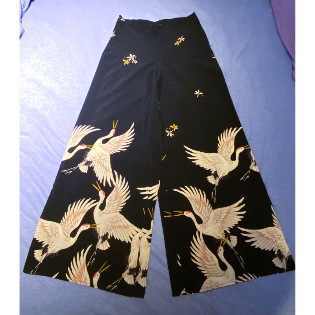 女 日式和風開襟套裝 西裝外套x高腰寬褲 S