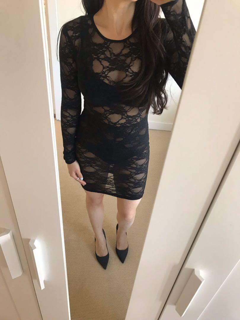 American Apparel Black Long Sleeve Lace Dress Small
