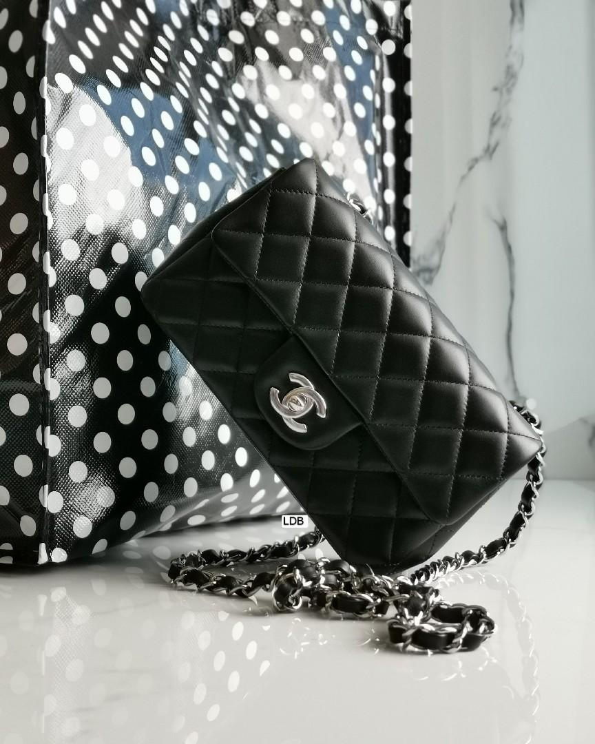Authentic Chanel Classic Mini Rectangle Black Lamb with Silver Hardware