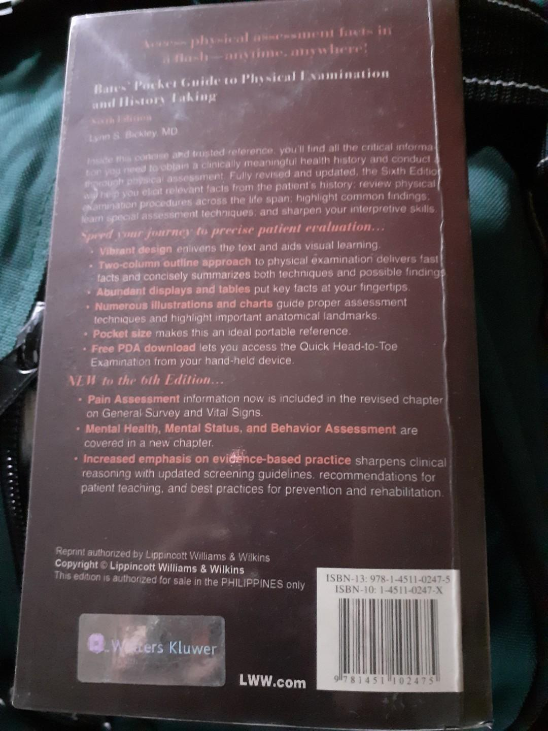 Bates Pocket Guide in Physical Examination and History Taking  by Lynn S. Bickley