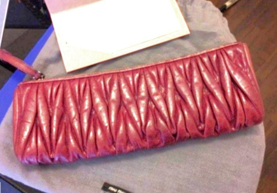 Miu Miu Matelasse Lambskin Clutch Bag. With receipt.  Accessories: Dust bag. Suitable for Office Lunch Clutch Bag Wallet