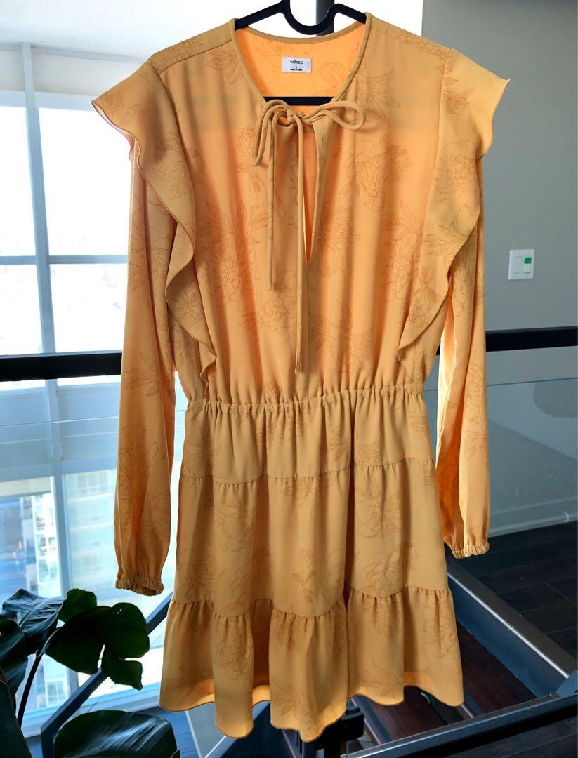 NEW Aritzia Wilfred Marvelle dress marigold yellow