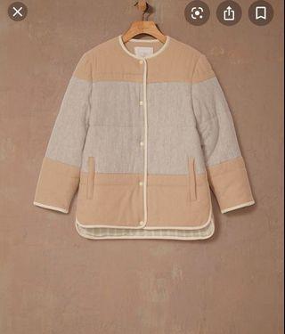 Aritzia Wilfred Le Fou wool quilted jacket in brown/dark sienna