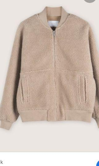 Oak and Fort Cream Bomber Size Small