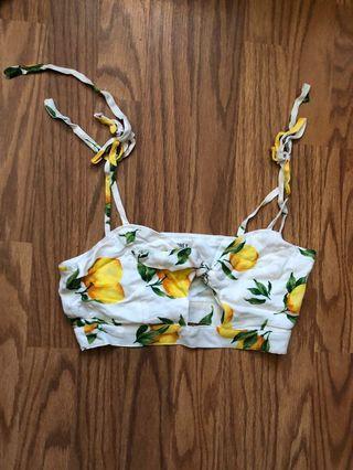 Love Street Apparel Lemon tie crop top