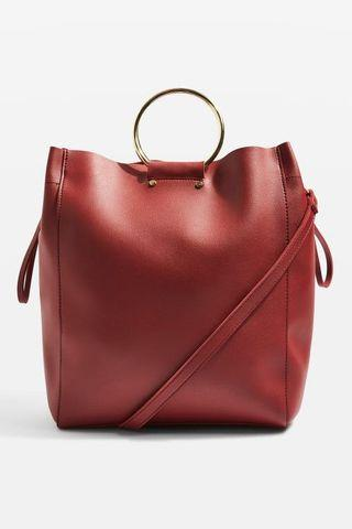 Topshop burgundy red leather tote bag