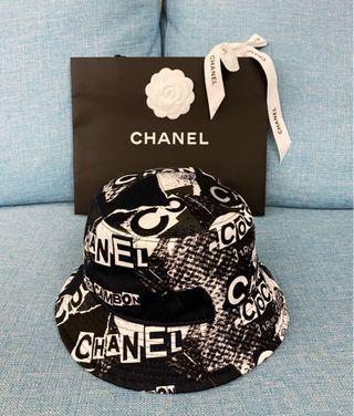 Chanel 香奈兒 logo印花 帆布 漁夫帽 全新 現貨
