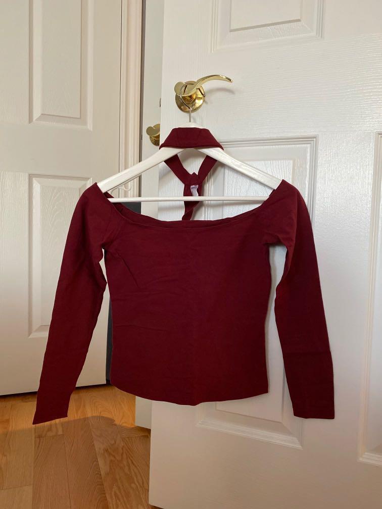American Apparel burgundy off shoulder long sleeve + choker (M)