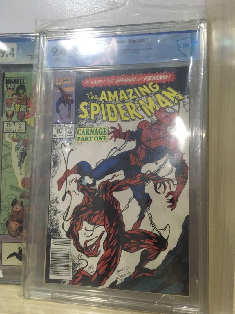 ASM 361(first appearance of carnage), secret wars #3 and Asm 299 bonus 30th anniversary spiderman comics