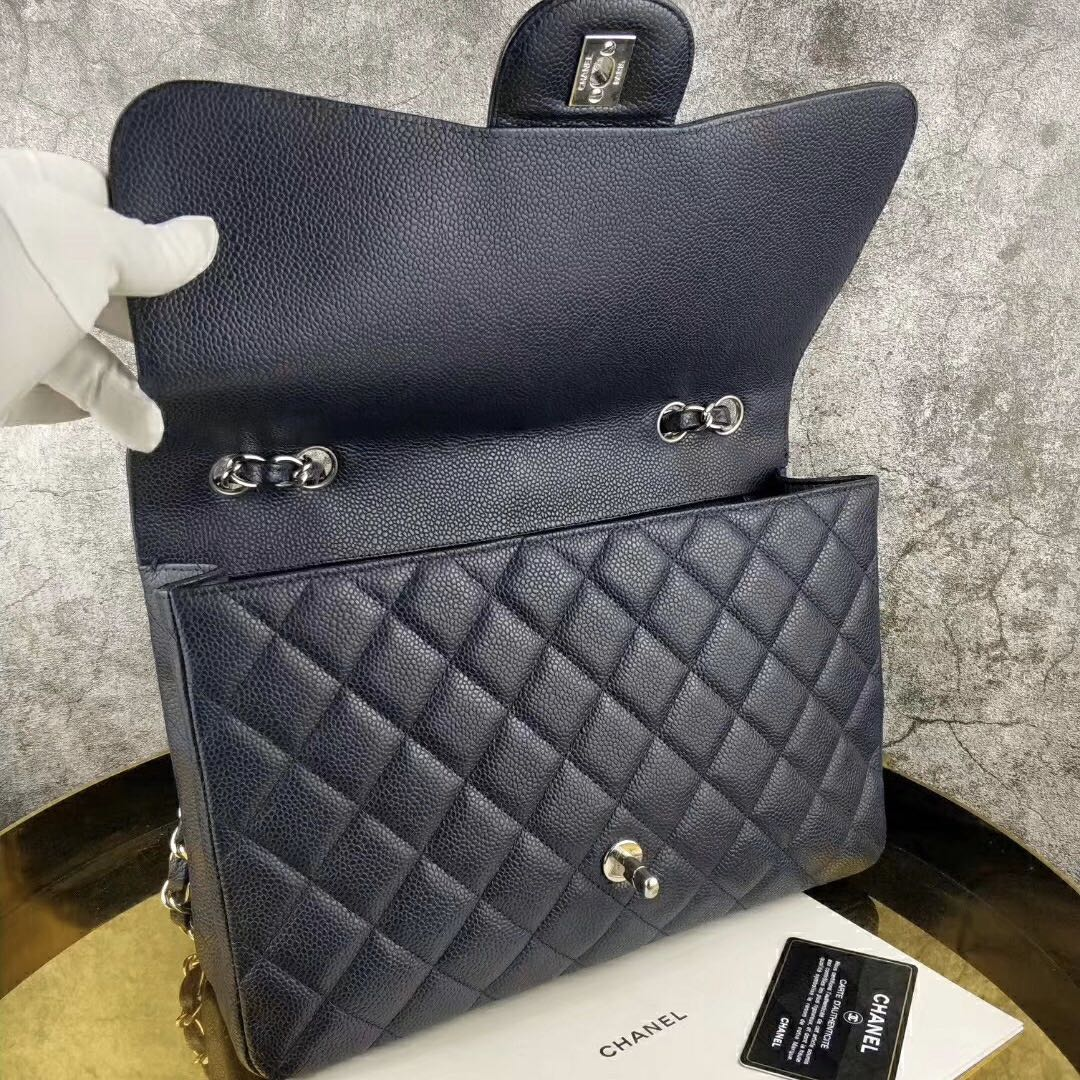 Authentic Chanel Dark Blue Caviar Leather Jumbo Single Flap Silver Hardware